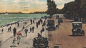 Chicago 1919: colorized photo of Lake Shore Drive in 1909