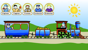 Workers on a Train: screen image of the interactive