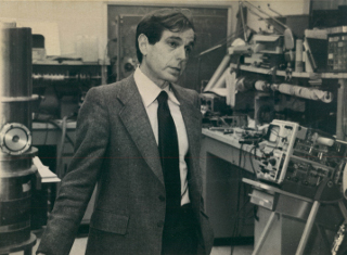 Harwit's Cornell University Laboratory: Martin Harwit working in his group's laboratory in Cornell University's Space Sciences Building, with instrumentation flown aboard rockets, or also on the NASA <em>Lear Jet</em> and <em>Kuiper Airborne Observatory</em>.