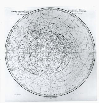 Bode's Northern Celestial Planisphere: This star chart dates from 1787 and was created by Johann Elert Bodes, the director of the astronomical observatory of the Berlin Academy of Sciences. It extends from the north equatorial pole to 38° South declination, and shows the stars of magnitudes 1 to 6. The brightest stars are identified by Bayer letters. Some stars are named.