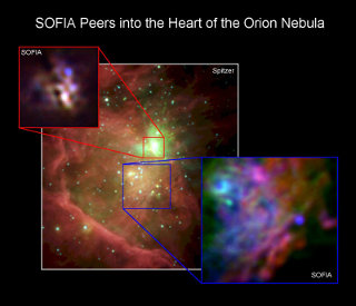 Becklin-Neugebauer Object: NASA's Stratospheric Observatory for Infrared Astronomy (SOFIA)  image of the Orion Nebula star-forming region, also known as Messier 42 (M42). The massive protostar known as the BN (Becklin-Neugebauer) Object is the bright blue dot in the red inset box.