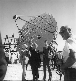 Gamma-Ray Reflector: Smithsonian Astrophysical Observatory director, Fred Whipple, in front of the 10-m Gamma-Ray Reflector on Mount Hopkins Observatory's opening day in 1968.