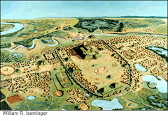 Cahokia Mounds: An artist's illustration of the village as it may have existed at Cahokia.  Located southwest of Shelbyville near the Illinois, Missouri border, Cahokia was inhabited by a number of peoples for more than 400 years.