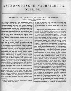 Bessel's 1838 Parallax of 61 Cygni: The first page of Bessel's original article in Astronomische Nachrichten of 1838.