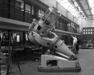 Palomar Observatory's 18-inch Schmidt Telescope: The 18-inch Schmidt telescope still in development at the California Institute of Technology.  The telescope would first be used by Fritz Zwicky to perform his supernova survey.