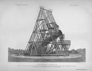 Herschel's Forty-foot telescope: William Herschel built a 40-foot telescope under the patronage of King George III.  Ultimately Sir William and Caroline found the 20-foot more useful for some purposes. This drawing is from The Scientific Papers of Sir William Herschel published in London in 1912 by the Royal Society and the Royal Astronomy Society.