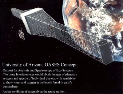 University of Arizona OASES Concept: Artist's rendition of an early version of a concept for a terrestrial planet finder, ca. 1995.  The concept was developed by Nick Woolf and Roger Angel.