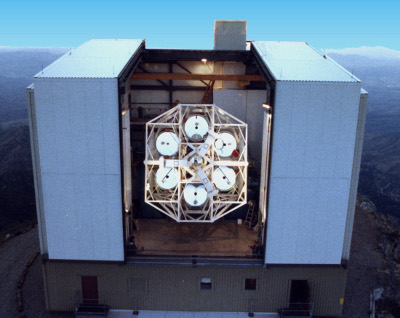 Multiple Mirror Telescope: In this image you can see the six segments of the telescope mirror.