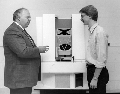 Apache Point Observatory Model: Astronomer Donald G. York and David Cole pictured with an architectural model of Apache Point Observatory.