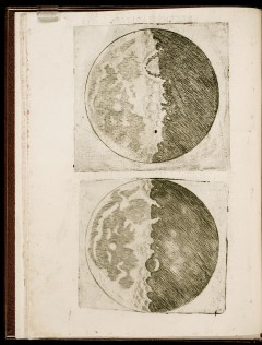 Illustration of the Moon's Craters from Galileo's Sidereus Nuncius: Galileo Galilei published Sidereus nuncius, Starry Messenger, in 1610.  The treatise included observations Galileo made with his telescope.  These depictions emphasize his realization that walls of deep craters on the Moon cast shadows. He thereby realized that the entire surface of the Moon was pitted with craters and mountains. He would not have been able to reach this conclusion without the aid of a telescope.
