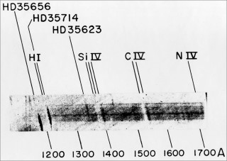 UV Sounding Rocket Spectrum: Four months after the above spectrum was captured, Morton obtained a higher quality UV spectrum of hot stars in Orion. The UV spectrum of ζ Ori revealed extremely strong absorption lines of three-times ionized silicon(denoted in the image as Si IV) and three-times ionized carbon (denoted in the image as C IV). These broad, white tilted features indicate the presence of a high-speed, outflowing stellar wind with velocities of 1800 km/s and imply a rate of stellar mass loss of one solar mass every one million years. At this rate, the stars would blow themselves apart in a few tens of millions of years. This fact was a major discovery from the early days of ultraviolet astronomy. The black streaks labelled by star names, e.g., HD35656, are due to other stars in the field of view during the flight. For more information about this spectrum, see Morton, D. C. 1967, ApJ, 147, 1017.