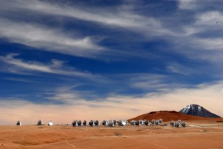 ALMA Antennas on the Chajnantor Plateau: The Atacama Large Millimeter/submillimeter Array (ALMA)  is an array of radio telescopes in the Atacama desert of Chile. The array includes 66 12-meter and 7-meter diameter radio telescopes.