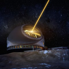 Thirty Meter Telescope: The 30-meter class telescope to be built in Hawaii will use adaptive optics to provide diffraction-limited imaging and unprecedented light-gathering power. The capabilities of the Thirty Meter Telescope will complement those of the James Webb Space Telescope in tracing the evolution of galaxies and the formation of stars and planets.