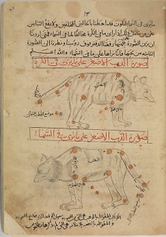 Illustration from the Kitab suwar al-kawakib al-thabita (Book of the Images of the Fixed Stars) of al-Sufi: The Kitab suwar al-kawakib al-thabita of al-Sufi based on the Almagest of the Greek astronomer Ptolemy, concerns the forty‑eight constellations known as the Fixed Stars, which, according to the medieval conception of the Universe, inhabited the eighth of the nine spheres surrounding the Earth. The constellations each appear twice in mirror image, shown as observed from the Earth and from the sky.  This manuscript in Arabic is from the late 15th century and represents the work of `Abd al-Rahman al-Sufi (903–986).