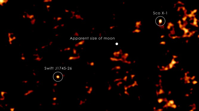 Scorpius  X-1: This image from the Swift X-ray Telescope shows an X-ray nova (designated J1745-26) and Scorpius X-1, along with the scale of moon, as they would appear in the field of view from Earth.