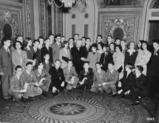Science Talent Search of 1945: Winners of the 1945 Westinghouse Science Talent Search assemble with Vice-President Harry S. Truman.  George Clark was among the top ten finalists who were selected as winners.  He stands 6th from the left in the back row.