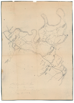 Eastern part of Chesterfield County, Virginia: Photocopy of a manuscript map showing batteries, roads, rivers and names of property owners of Chesterfield County, Virginia, in 1864.  Today there is an unincorporated town in eastern Chesterfield County called Moseley, Virginia.  Perhaps this town was named after one of Harvey Moseley's ancestors.