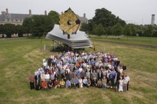 Full-scale model of the James Webb Space Telescope: Northrop Grummon built an actual-size model of the JWST to help them better understand its size, scale, and complexity.  The model is made of aluminum and steel, weighs 12,000 lbs., and is 80 feet high x 40 ft wide x 40 ft tall.  The model visited a number of sites, including Dublin, Ireland, where it is pictured here in June 2007.  The model travels in 2 trucks and it takes 12 people 4 days to assemble it.